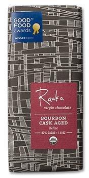Raaka Bourbon Cask Aged Organic Dark Chocolate Bar 82% Cacao Aged Chocolate Candy