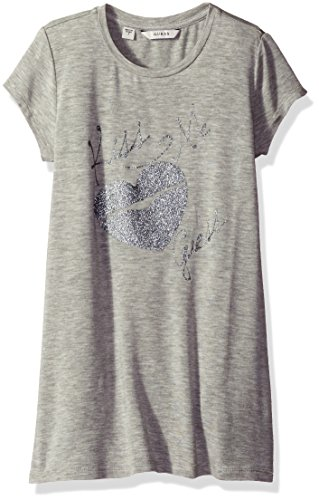 GUESS Big Girls' Viscose Jersey with Foil and Glitter Tunic, Light Heather Grey, 14