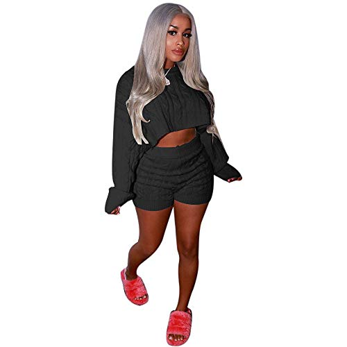Women's 2 Pieces Outfits Knitted Pullover Sweaters Suit Crop Tops Casual Shorts Party Clubwear Tracksuit Jumpsuits Set(Black,M)