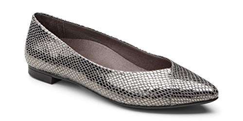 Vionic Women's Caballo Ballet Flat - Ladies Dress Shoes with Concealed Orthotic Support - Leather- Gunmetal Snake 6M