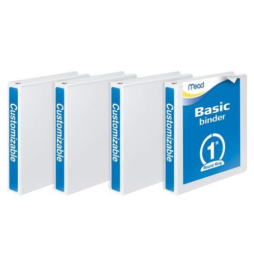Mead 3 Ring Binder, Customizable, 1 Inch Round Ring, 4 Pack, White (W463-14WPP) (Vinyl Recipe Binders Book)