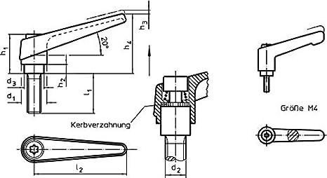 l1=50 mm Orange HALDER 24400.0191 Verstellbare Klemmhebel d1=14 mm d2=M6