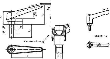 l1=20 mm Orange HALDER 24400.0151 Verstellbare Klemmhebel d1=14 mm d2=M6