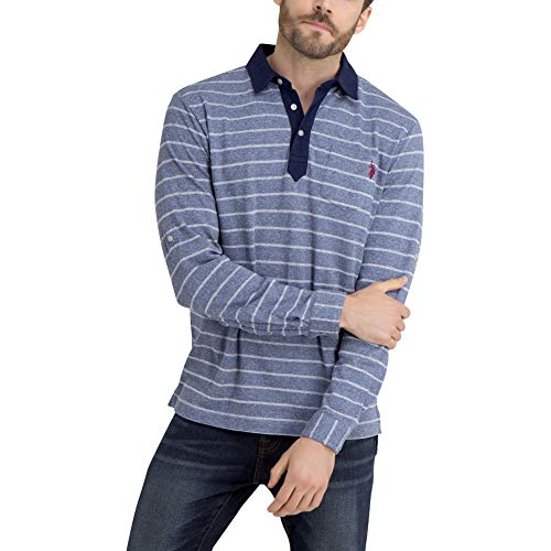 Pique Dye Polo - U.S. Polo Assn. Men's Long Sleeve Pique Polo Shirt Dark Blue Space-Dye S