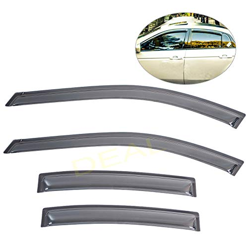 DEAL 4-piece set JDM style vent smoke window visor, side window sun rain guard with outside mount tape-on type, custom fit for 2004-2008 Acura TL Type-S/Base Sedan 4-Door ()