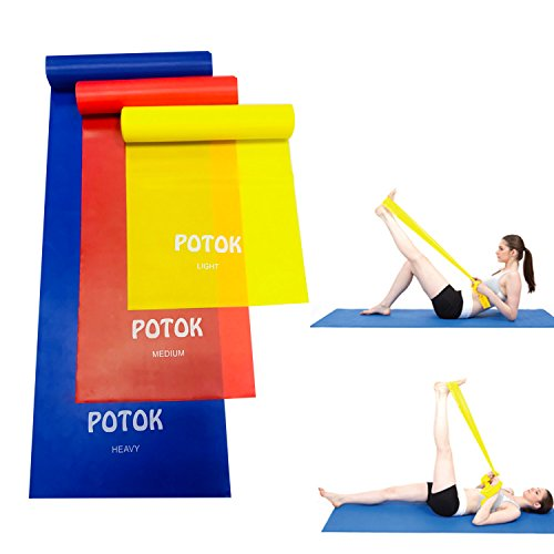 Resistance Bands, Potok 3Pack 1.2m / 4ft Latex Free Resistance Bands for Mobility Strength & Rehab Premium Quality (Red, Blue, Yellow)