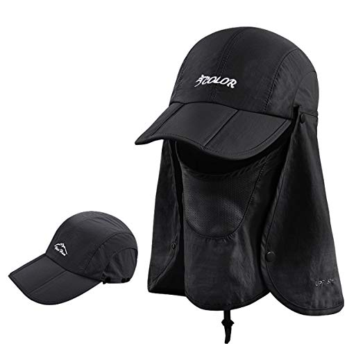ICOLOR Folding Sun Cap,360°Protection Flap Hats,Adult UPF 50+ Flap Cap,Sun Hats,Removable Neck & Face Flap Cover for Baseball,Backpacking,Hiking,Fishing,Garden,Hunting Outdoor Activities (Black
