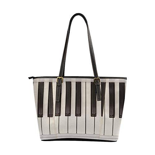 InterestPrint Tote Bags Women's PU Leather Handbags Ladies Shoulder Bag Funny Vintage Piano Keys Keyboard Musical Theme ()
