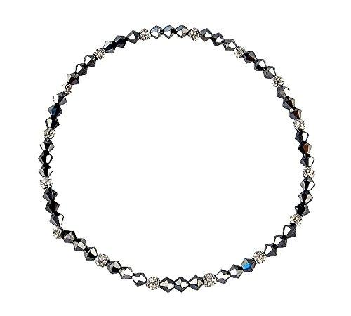 Stretch Crystal Bead Ankle Bracelet Anklet For Smaller Ankles - Metallic Gray (Hematite Round Anklet)