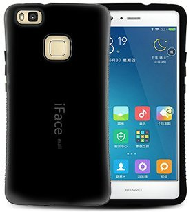 摘むなめらか寝るiFace mall Huawei P9 liteケース、カバー高級感のあるP9ライトハードケースアイフェスモールファーウェイP9 Liteファーウェイノバライト耐衝撃 (ブラック)