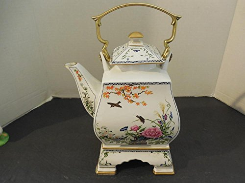 Stunning FP Porcelain Teapot with Asian Scenes and Stand from Japan