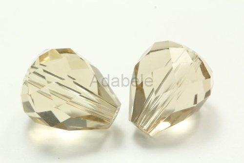 10 Mm Bead Drop (50 12x10mm Adabele Austrian TearDrop Crystal Beads Silver Champagne Alternative For Swarovski Preciosa Crystalized Beads 5500 #SST-1229)