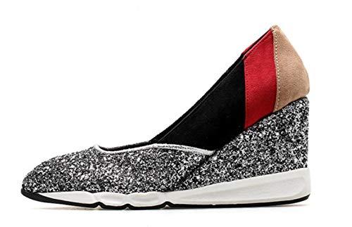 Fuß Helle Mund Dick Sohlen Set Schuhe Silver Hochhackige Leder Flacher Schuhe Wedges Spitze Damen Einzelne Shiney xqzn6Hw7IS