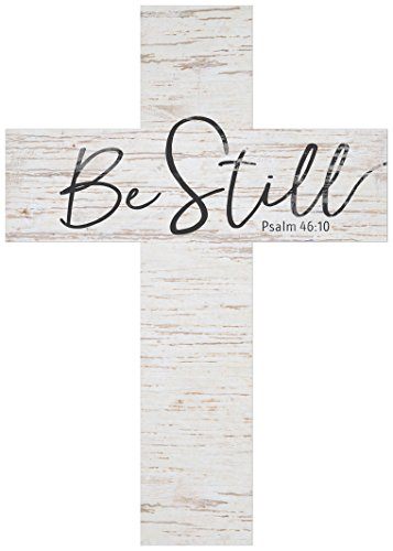 Be Still Script Whitewash 8.5 x 12 Solid Pine Wood Wall Hanging (Rustic Wall Cross)