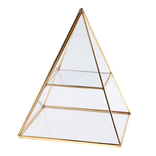 Dovewill 2 Tiers Vintage Style Brass Clear Glass Pyramid Mirrored Shadow Box Jewelry Display Case - Gold by Dovewill