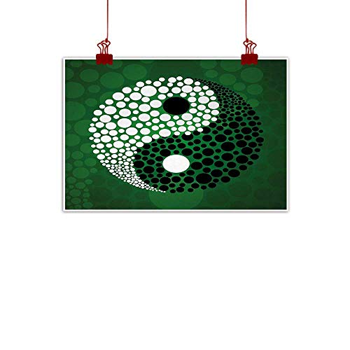 (Sunset glow Canvas Wall Art Ying Yang,Digital Made Yin Yang Form Nature Zen Themed Meditation Decor Dots Design,Green Black White 28
