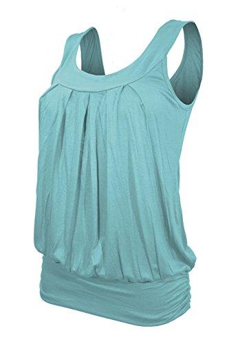 Mujer Tirantes–Beach Top–Reservorio Tops–Ringer Top–Espalda–Cuello redondo–Manga–�?011de azul celeste