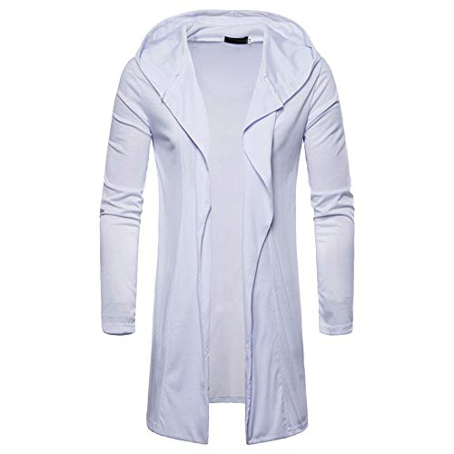 Forthery Clearance Men's Trench Coat Winter Warm Long Hooded Jacket Overcoat Cardigan