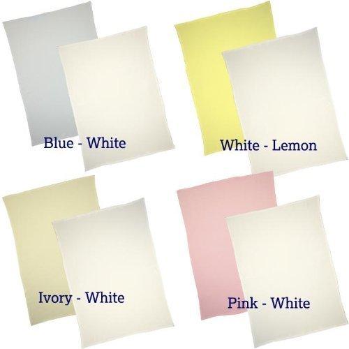 BabyPrem Pk of 2 Flat Pram / Cradle / Stroller Sheets 100% Cotton White & Pink, Blue, Lemon or Cream. WHITE & PINK by BabyPrem