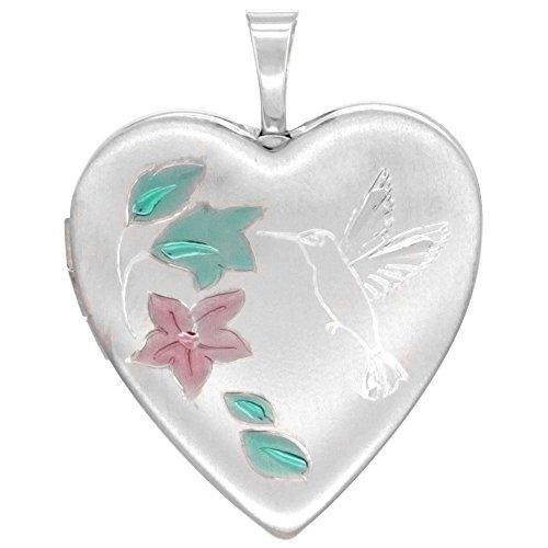 Sterling Silver Heart Locket Necklace Hummingbird, 18 inch Boston - Locket Hummingbird