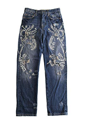 Free People Cotton Crystal Embellished Ripped Slouch Jeans Blue Size 26
