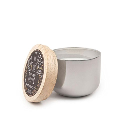 Paddywax Foundry Collection Scented Soy Wax Candle in Silver, 5-Ounce, Olive Tree & Thyme