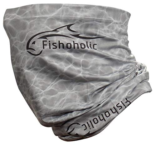Fishoholic Fishing Face Mask UPF50+ Fishing Neck Gaiter Sun Wind Dust Sun Protection & Also Bandana Face Shield Scarf Headwear for Men Women Hunting Cycling Run Fish Paddling Kayak Bass