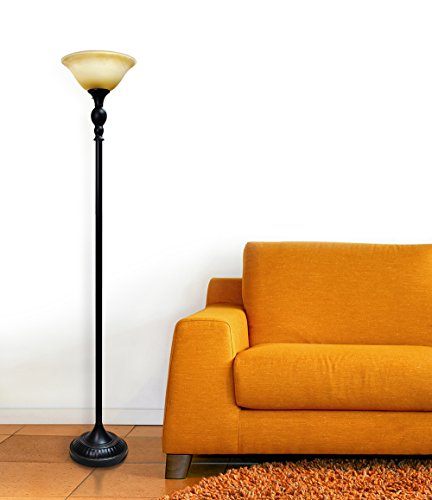 Elegant Designs LF2001-RBZ 1 Light Torchiere Marbelized Glass Shade Floor Lamp, Restoration Bronze/Amber - Restoration Bronze finish Marbelized Amber glass shade Uses 1 x 100 3 way Type a medium base bulb (not included) - living-room-decor, living-room, floor-lamps - 412u10nbNKL -