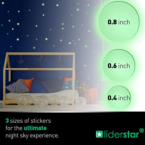 Glow in The Dark Stars Wall Stickers,252 Adhesive Dots and Moon for Starry Sky, Decor for Any Room by LIDERSTAR,Bright and Realistic.(Galaxy)