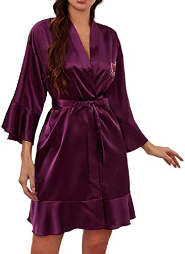 YINGKE Dames Kamerjas Kimono Nachtkleding Korte Badjas Satijnen Nachtkleding V-hals Gewaad voor Bruidsmeisjes