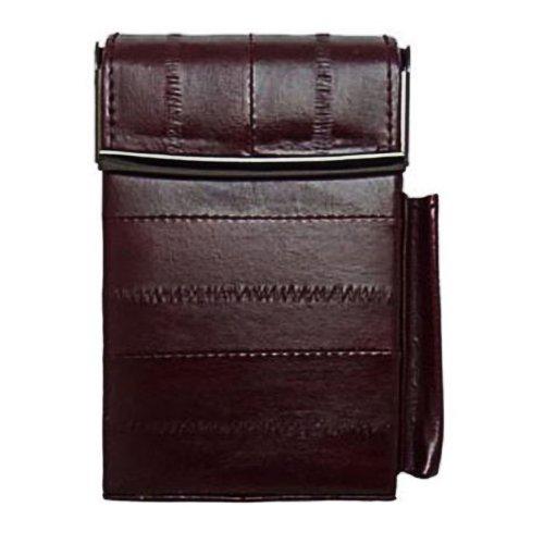 Eel Skin Genuine Leather Sliding Cigarette Case Pop-Up Wallet, Bags Central