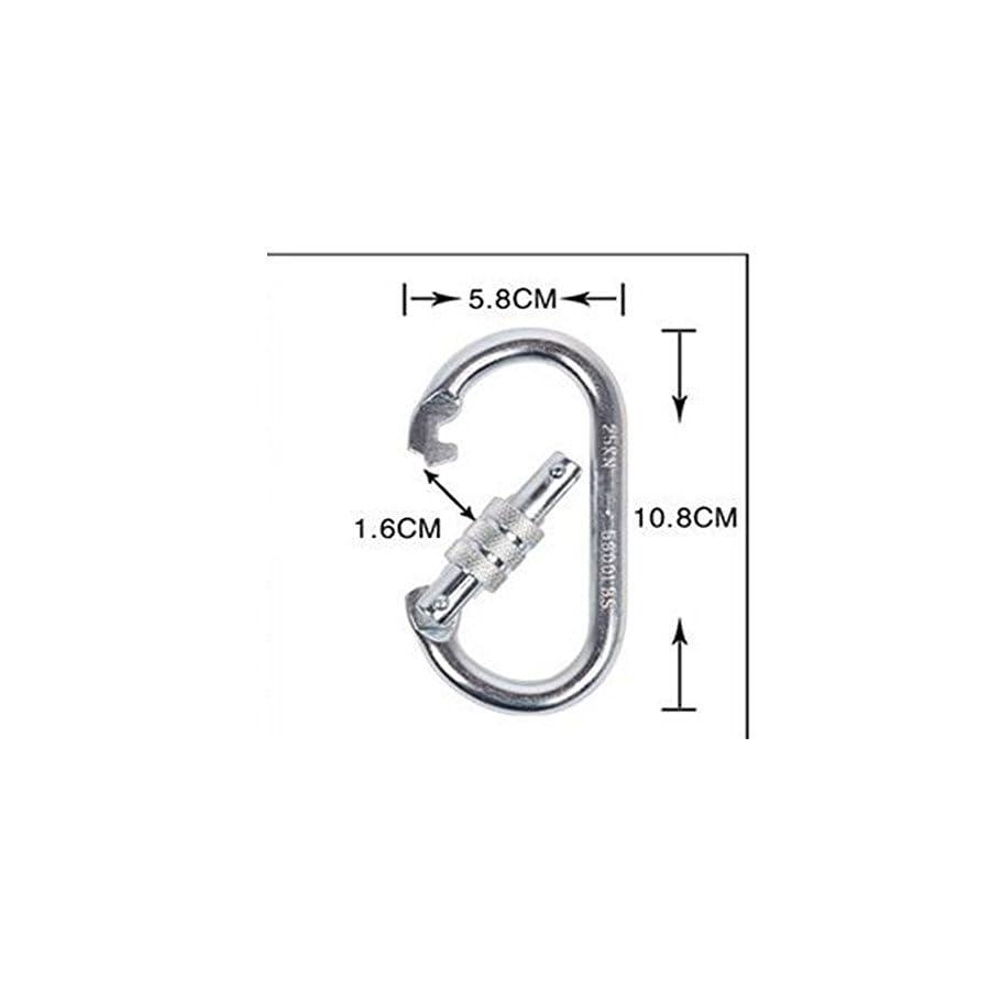 Flowersea998 25KN Rock Climbing Equipment Hook Climb Oval Quick Links Steel Buckle Auto Locking Caving Screw Locking Gate Carabiner (Silver)
