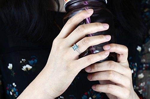 10K White Gold 1.03 Ct Emerald Cut Sky Blue Topaz White Diamond Engagement Ring