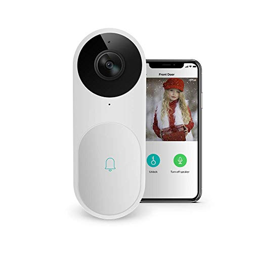 Video Doorbell, A.I. Wifi HD Camera Doorbell with Facial Recognition, Voice Interaction, Night Vision, Motion Detection, Wireless Doorbell, Push Notification, Compatible with Alexa Echo Show White