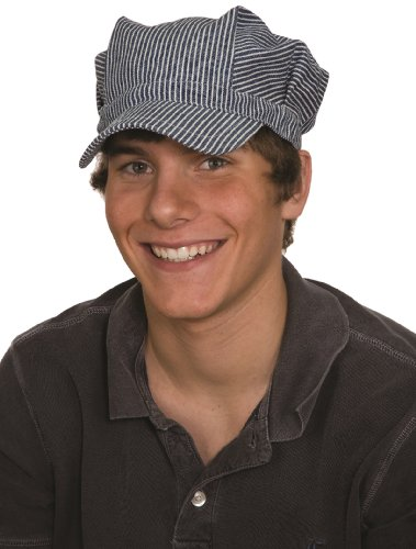 Jacobson Hat Company Adult Engineer Hat,Blue/White,Medium (adjustable size fits most)