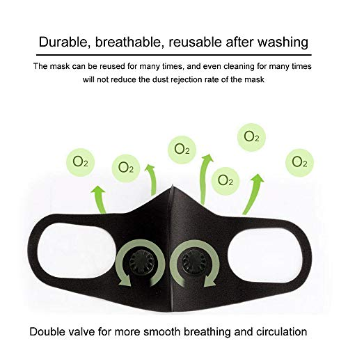AEEHFENG Three-Dimensional Valve Sponge Masks with Double Breathing Port,Safety Breathing Mask Cover to Prevent Haze, Outdoor Sports Anti-Dust Activities,with r Filter