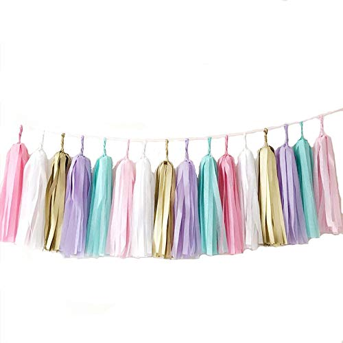 GUZON 30 PCS Tissue Paper Tassel DIY Party Garland Decor for All Events & Occasions(Unicorn Pastel)