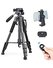 """63"""" Camera Tripod Lightweight Travel Tripod Aluminum Tripod with 2 Quick Release Plates and Phone Holder Mount for DSLR Camera, Cellphone, Canon, Nikon, Sony, etc and DV Video"""