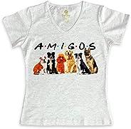 Camiseta Feminina Gola V Filmes e Series Cool Tees Cães Amigos