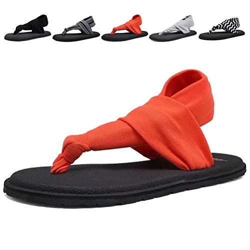 DESTURE Womens Yoga Sling Flip Flops Mat Thong Sandals Lightweight Shoes Size 6-10,Coral,39-8M
