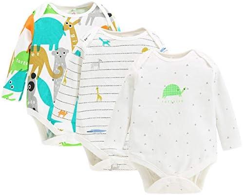 Pack de 3 Unisexo Bebé Body de Manga Larga Mono Mameluco Algodón Peleles Comodo Pijama Regalo de Recien Nacido, 0-3 Meses: Amazon.es: Bebé
