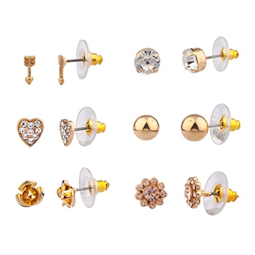 Lux Accessories Arrow Pave Heart Floral Flower Ball Multiple Earring Stud Set