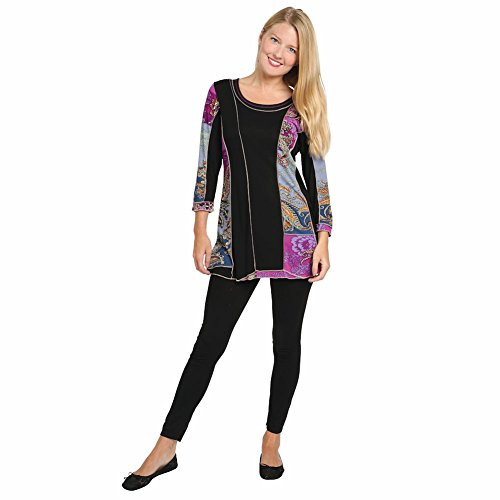Women's Tunic Top - Amethyst Allure Black & Purple Paisley Print Shirt - 1X