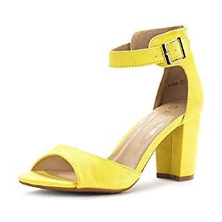 DREAM PAIRS Women's Hher Yellow Suede Low Heel Pump Sandals - 10 M US