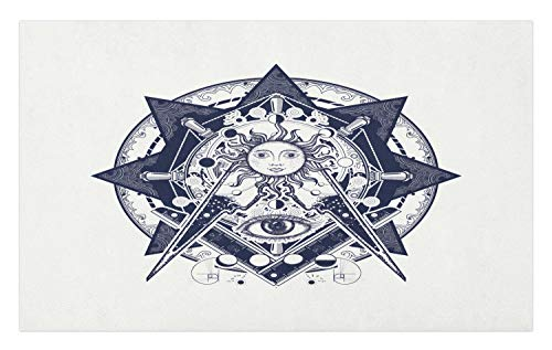 (Lunarable Geometry Doormat, Medieval Themed Eyes and Alchemy Sun in Star Motif Print, Decorative Polyester Floor Mat with Non-Skid Backing,30