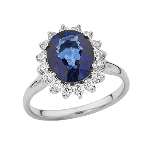 Elegant CZ Princess Diana Inspired Engagement Ring with September Birthstone in 14k White Gold (Size - Diana Ring 14k