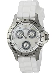 Invicta Womens Speedway Quartz Stainless Steel and Silicone Casual Watch, Color:White (Model: 21972)