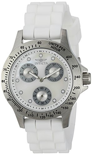Invicta Women's 'Speedway' Quartz Stainless Steel and Silicone Casual Watch, Color:White (Model: 21972)