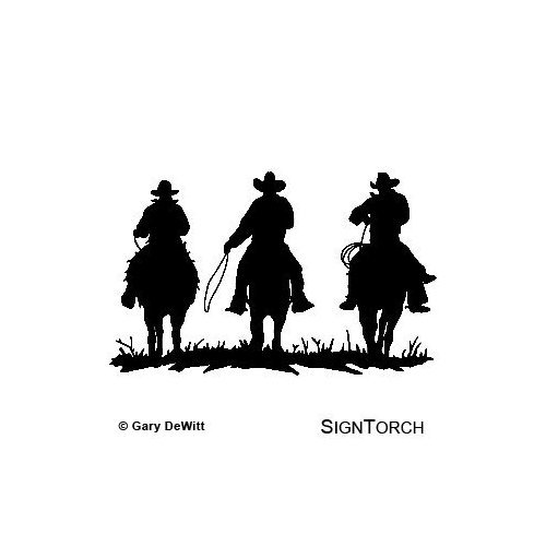 """COWBOY COWBOYS HORSE RIDERS WESTERN WALL DECAL HOME DECOR SILHOUETTE LARGE 20"""" X 33"""""""