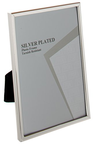 Viceni Silver Plated Thin Edge Photo Frame, 4 by 6-Inch (Frame Coated Silver)